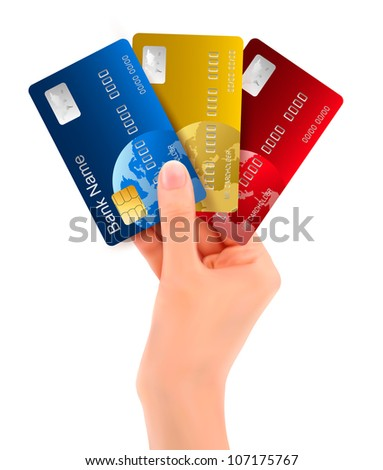 Male hand showing credit cards. vector illustration. - stock vector