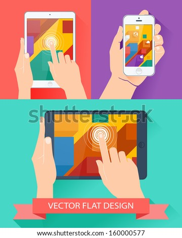 Male hands holding smartphone and tablet. Vector flat design. - stock vector