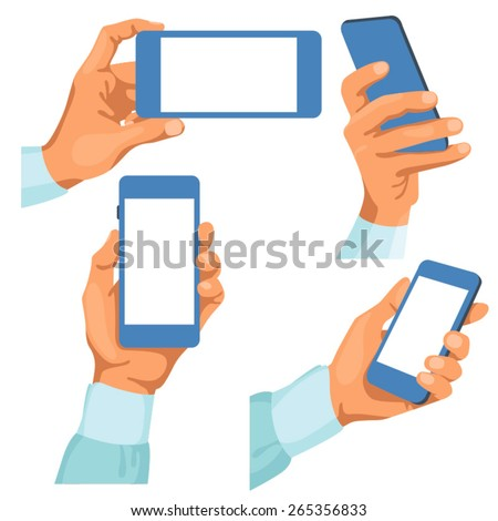 Male hands with phones in them / There is illustration of male hands in different positions with phones in them. Hands are in shirt sleeves.  - stock vector