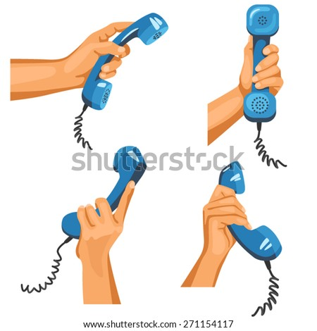 Male hands with telephones in them. Illustration of male hands in different positions with blue telephone tubes in them  - stock vector