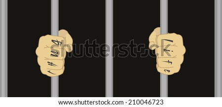 Male hands with Thug Life tattoo holding prison bars  - stock vector