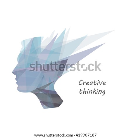 male head silhouette, concept of creative thinking, intellectual property, education - stock vector