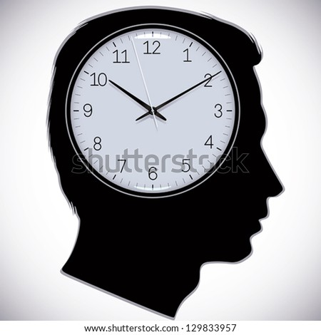 Male head silhouette with watch instead of brains, vector. - stock vector