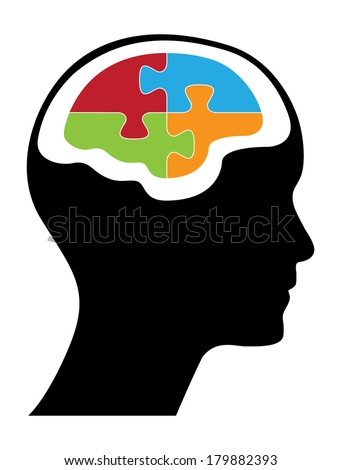 Male head with puzzle shaped brain, creative vector illustration. - stock vector