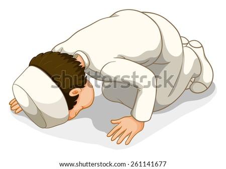 Male muslim in white costume praying - stock vector