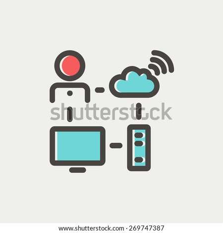 Male office with computer set and wifi icon thin line for web and mobile, modern minimalistic flat design. Vector icon with dark grey outline and offset colour on light grey background. - stock vector
