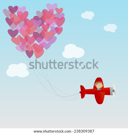 male on the air plane and heart air balloon - stock vector