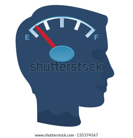 Male profile with dial running out of energy, memory, or ideas. - stock vector