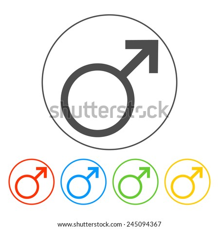 Male sign icon. Male sex button. Circle flat button  - stock vector