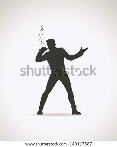 Male singer - vector illustration - stock vector