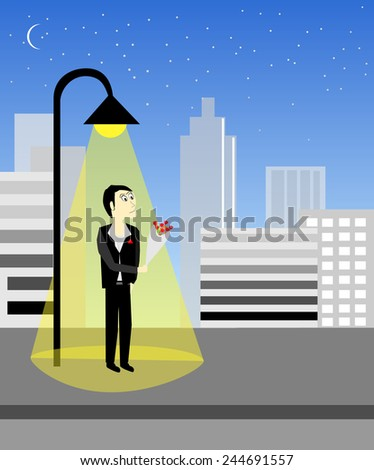 Male waiting for girl friend  vector design  - stock vector