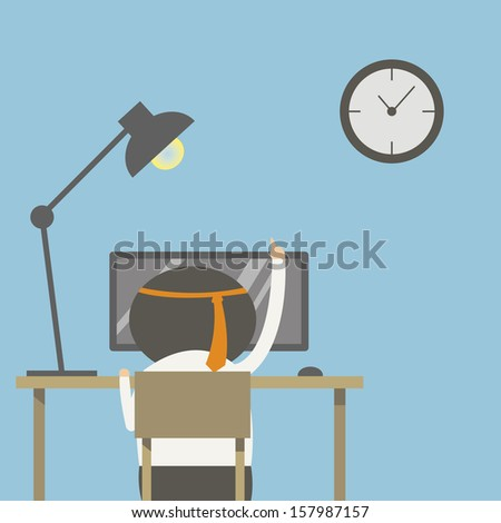 Male worker sat at his desk with computer. - stock vector