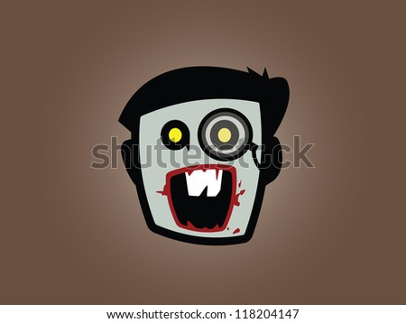 Male Zombie with Buck Teeth and Sophisticated Eye Piece. - stock vector