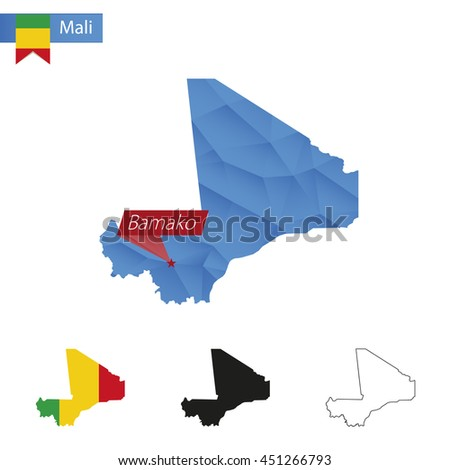 Mali blue Low Poly map with capital Bamako, versions with flag, black and outline. Vector Illustration. - stock vector