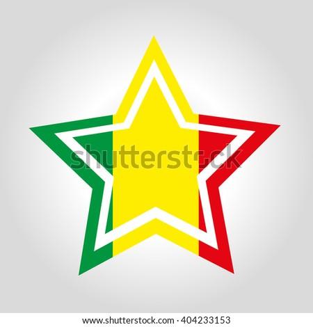 Mali Star Flag - stock vector