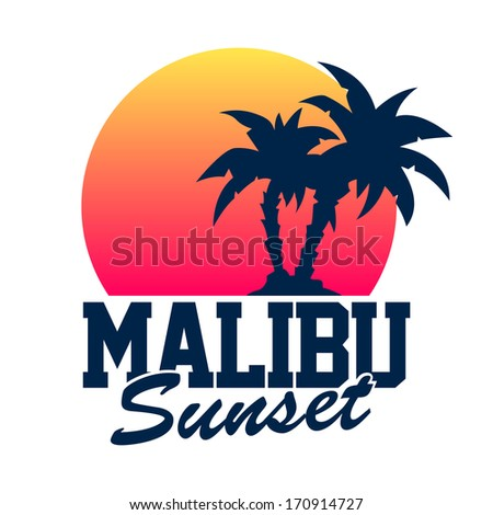 Malibu Sunset - stock vector