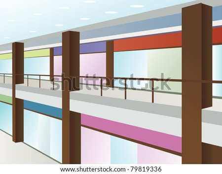 mall with windows and brown columns, vector - stock vector