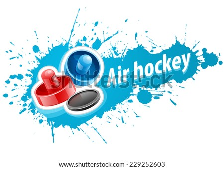 Mallets and puck for playing air hockey game over paint splash with blot drops. Eps10 vector illustration. Isolated on white background - stock vector