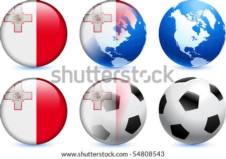 Malta Flag Button with Global Soccer Event Original Illustration - stock vector