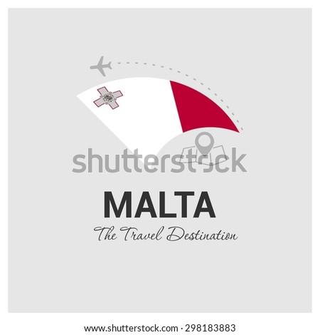 Malta The Travel Destination logo - Vector travel company logo design - Country Flag Travel and Tourism concept t shirt graphics - vector illustration - stock vector