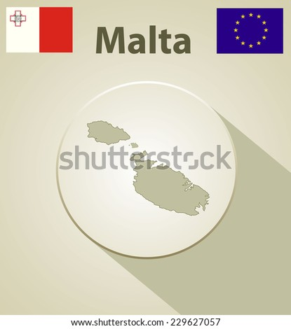 Maltese map including: flags of Malta and European Union. - stock vector
