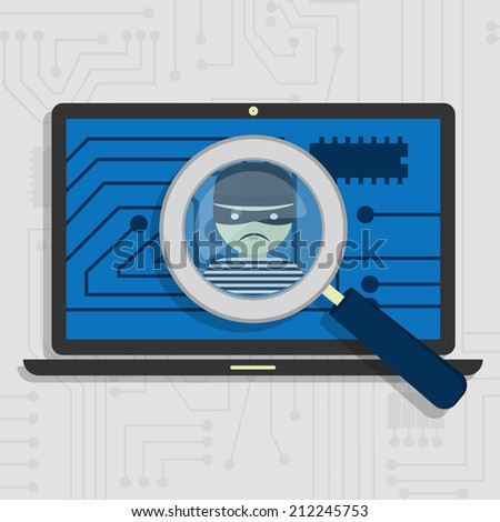 Malware detected on laptop represented by a magnifying glass focusing on the figure of a thief - stock vector