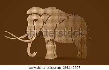Mammoth designed using dots pixels graphic vector. - stock vector