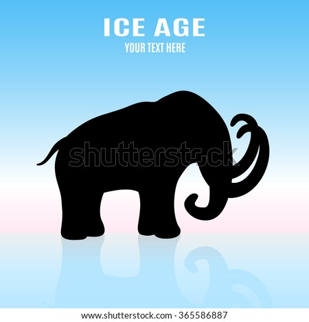 Mammoth silhouette on ice. Ice Age concept - stock vector