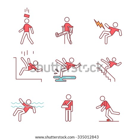 Man accident and traumas safety sign set. Thin line art icons. Flat style illustrations isolated on white. - stock vector