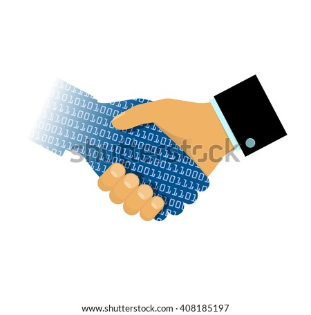 Man and Artificial Intelligence. Cyber communication design concept. Handshake of computer and man. Symbol of connection between people and AI technology. Computer education. VECTOR - stock vector