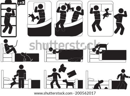 Man and Dog Relationship set - stock vector