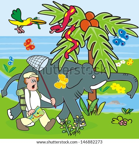 man and elephant - stock vector