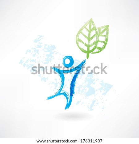 man and leafs - stock vector