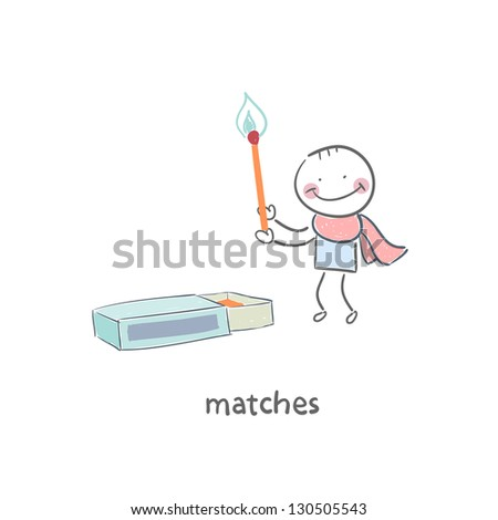 Man and matches box - stock vector