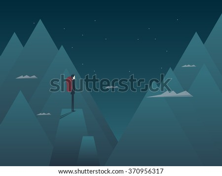 Man and mountains concept of hiking, climbing or mountaineering. Person with backpack at night on top of peaks. Eps10 vector illustration. - stock vector