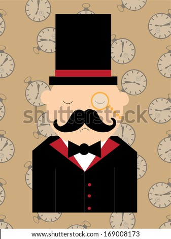 Man and Pocket watch - stock vector
