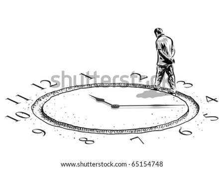 man and the time - stock vector
