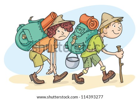 Man and woman are hiking with backpacks. - stock vector