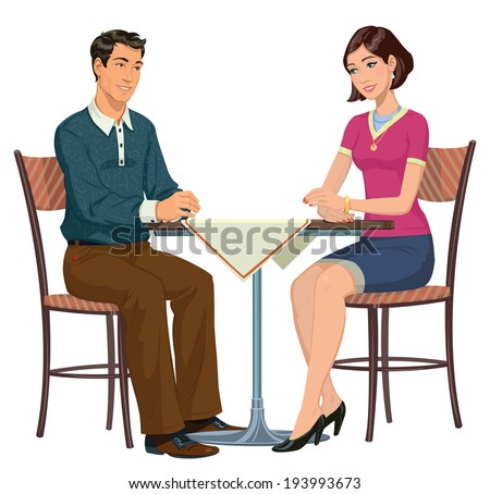 Man and Woman at the table - Illustration - stock vector