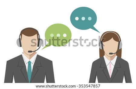 Man and woman avatars in call center, flat style. Technical support operators portraits with headsets and speech bubbles. EPS 8 vector illustration, no transparency - stock vector