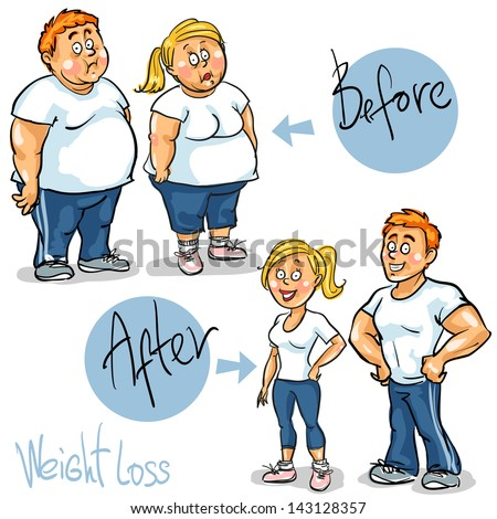 Man and Woman before and after weight loss program and training . Hand drawn funny cartoon characters, sketch, isolated - stock vector