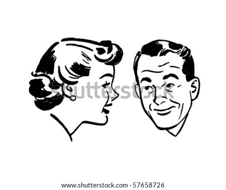 Man And Woman Chatting - Retro Clip Art - stock vector