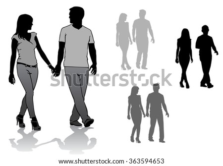 Man and woman. Couple of young people walking  - stock vector