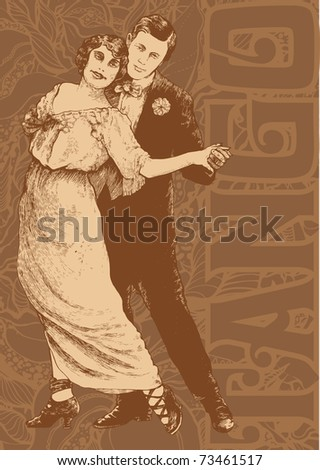 Man and woman dance a tango on abstract floral background. vector illustration. - stock vector