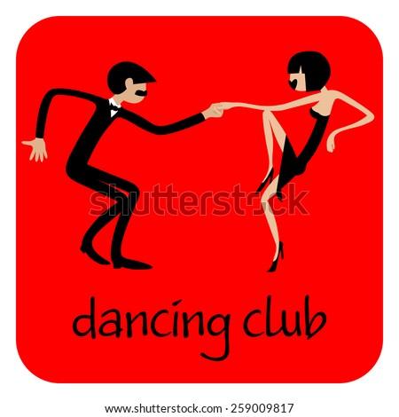 Man and woman dancing. Dancing couple.  Caricature. Flat. Sports dance. - stock vector