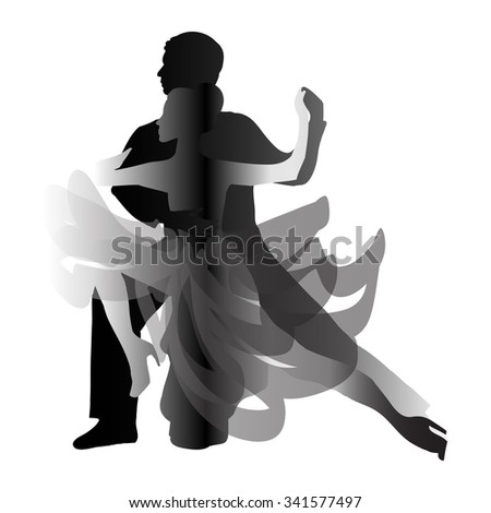 Man and woman dancing tango. Vector illustration - stock vector