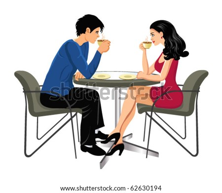 man and woman drinking coffee - stock vector