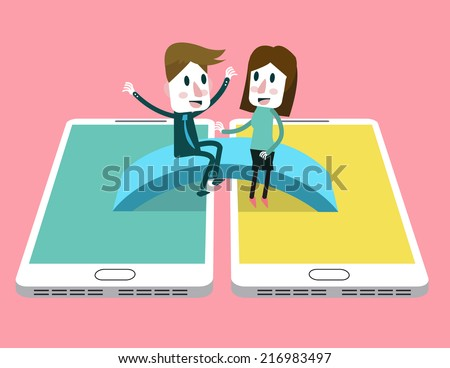 Man and woman enjoy talking on the bridge across between smart phone. social media community concept. vector illustration - stock vector