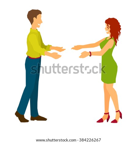 Man and woman giving hands to each other. Accord a warm welcome to guest. Date, appointment of two old friends, beloved people. Casual joyful meeting. Isolated on white background. - stock vector