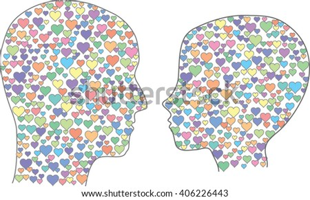 Man and woman heads filled with hearts. - stock vector